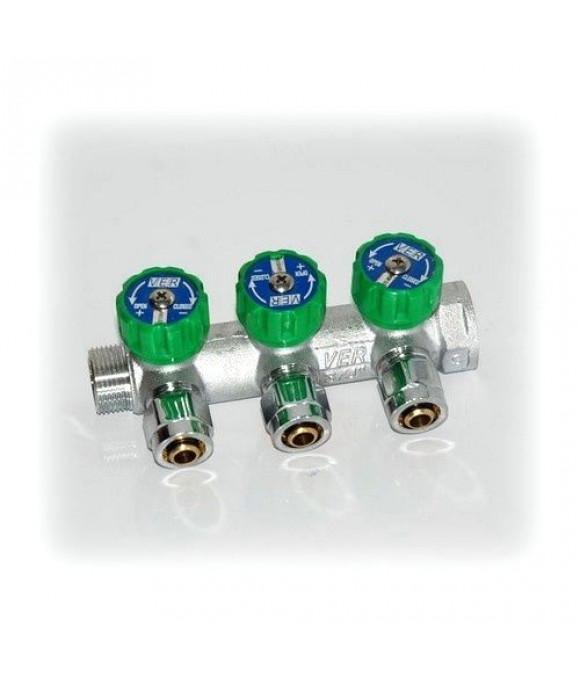 Коллектор 3 вых. 3/4 х 16ц. (С ЦАНГАМИ) (бар. зеленый)  VER