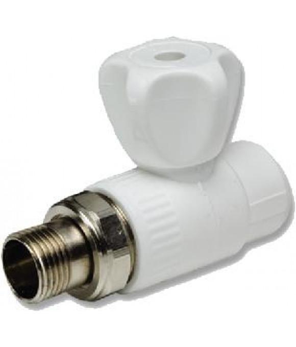 Белый  кран шаровой для радиатора прямой  ф20-1/2 Imperial