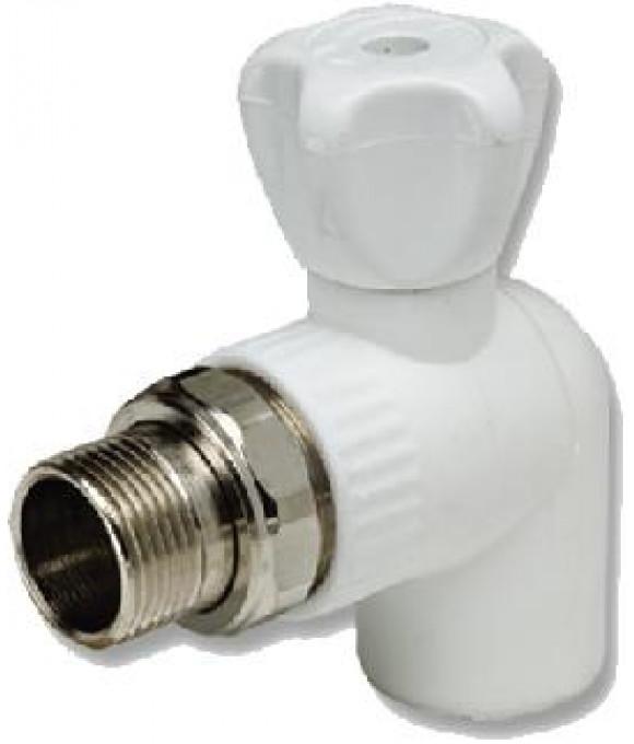 Белый  кран шаровой для радиатора угловой  ф20-3/4 Imperial