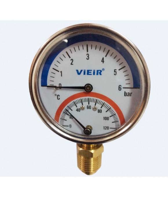 """Термоманометр верт. (СНИЗУ) 1/2, 120""""С   6 БАР   ViEiR  (50/1шт) YE6"""