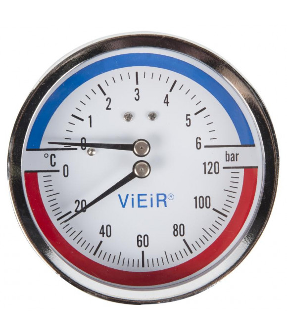 """Термоманометр гор. (СЗАДИ) 1/2, 120""""С   6 БАР  ViEiR YF6"""
