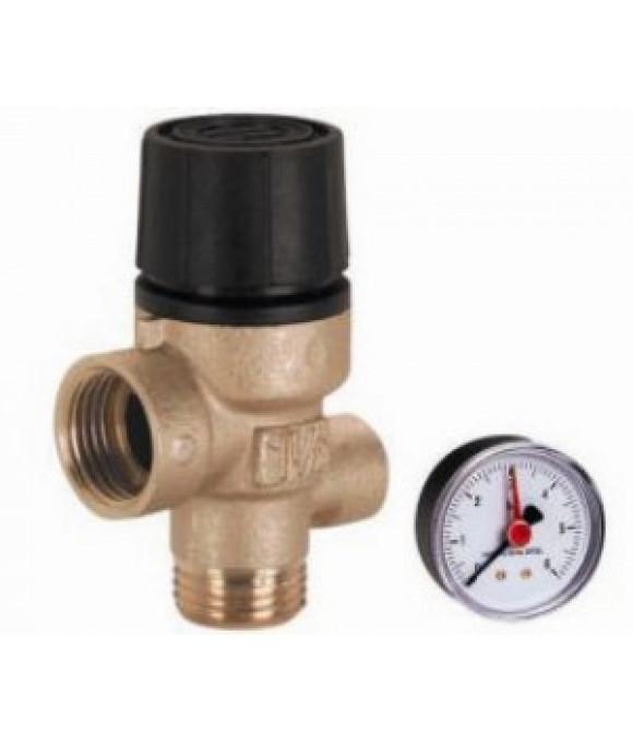 Предохранительный клапан  с манометром 1/2-3bar г/г FIV