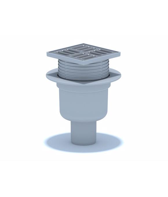 TA5702 Трап АНИ ф50 прямой, решетка нерж/сталь 10 х10, регулируемый