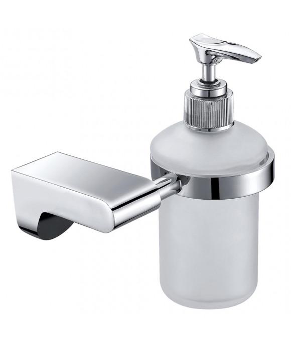 1510 Дозатор для жидкого мыла настенный (стекло) хром (нерж)