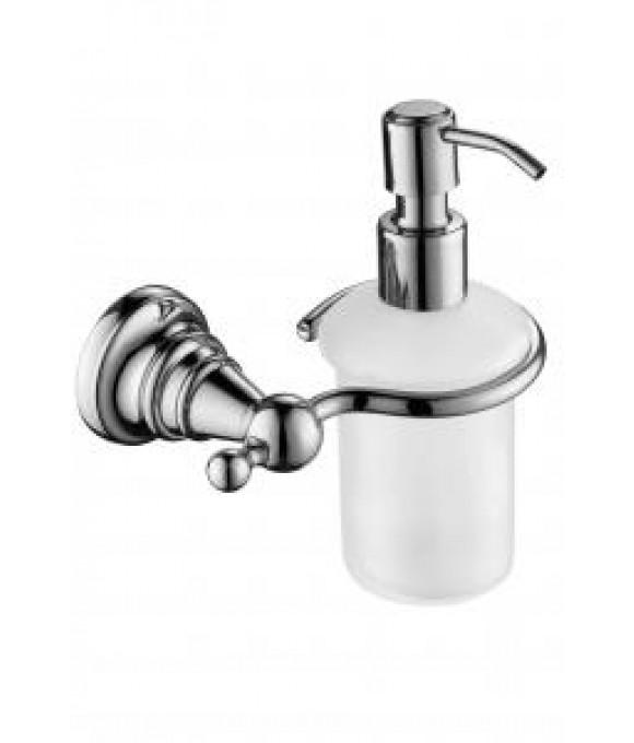 2210 Дозатор для жидкого мыла настенный (стекло) хром (латунь)